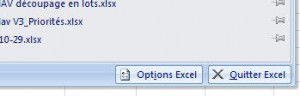 Menu des options Excel