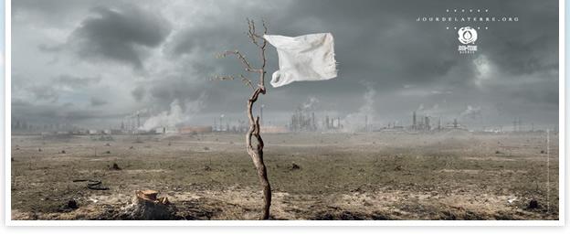 Jour de la terre. Drapeau blanc. La Terre se rend.