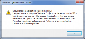 Message d'erreur RDL