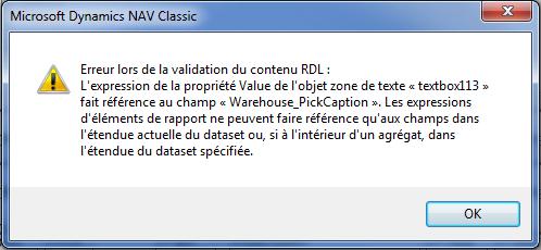Message d'erreur RDL Navision
