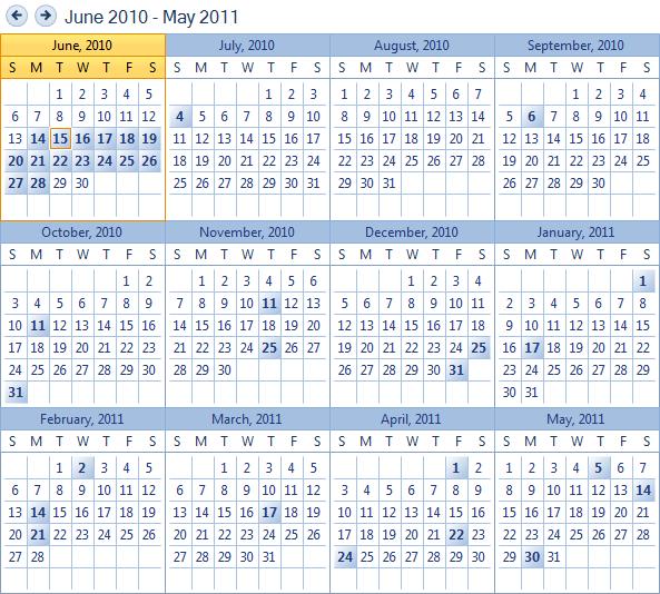 Remplir un calendrier annuel via sql