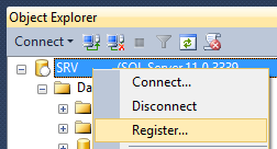 SSMS Register connexion