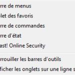 Affichez la barre 'Avast! ONline Security'