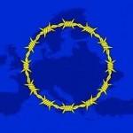 Drapeau UE avec barbelés. Prison