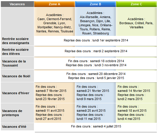 Calendrier scolaires 2013 2014 - Vacances scolaires noel 2016 ...