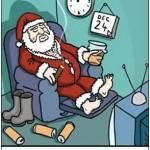 Le Pere Noel en retraite ou au chomage. père noël repos cadeau
