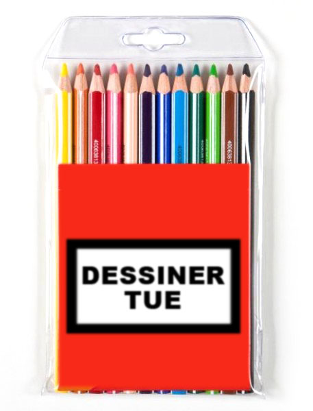 Pochette Crayon Dessiner Tue logo