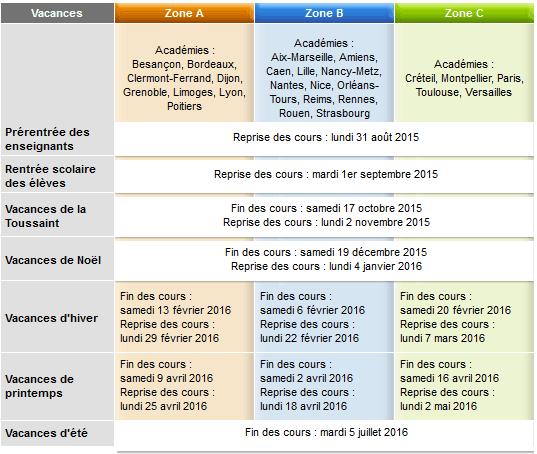 Vacances scolaires 2015 2016 - Vacances scolaires 2015 2016 ...